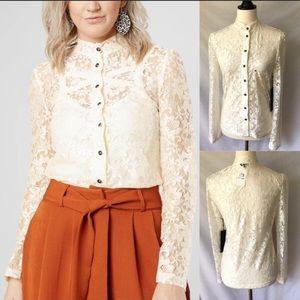 NWT Lira Clothing Ivory Jane Lace Top S